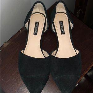 Shoemint Audrey black suede flats